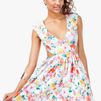 Floral Poof Cut Out Dress
