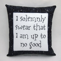 Harry Potter Cross Stitch Pillow, Black Pillow, I Solemnly Swear...