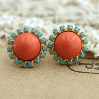 Stud earring Turquoise and Coral salmon pink pearls, bridesmaids earrings - 14k plated gold post earrings real swarovski pearls.