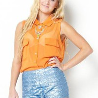 Orange Button Up Sleeveless Blouse