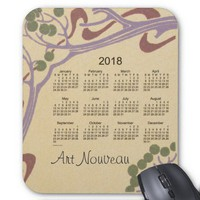 Art Nouveau 2018 Calendar Mouse Pad from Zazzle.com
