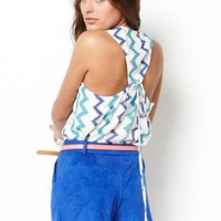 Blue Chevron Print Racerback Top