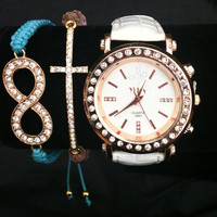 Chunky Rose Gold Stack Set Watch Included Infinity and Cross Bracelets
