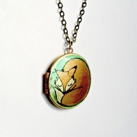 Fox Locket Necklace/ orange and green original by Locketfox