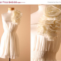 ON SALE Ruffle Tiered Flower Formal Off Shoulder by PYTboutique
