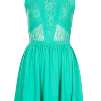 Petite Lace Panel Skater Dress - Topshop