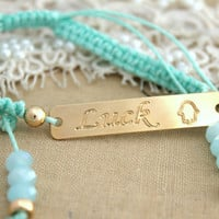 Friendship bracelet Aqua Tiffanys blue for luck - 14K gold filled hand braided bracelet .