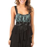 party dress with satin tank silhouette and tiered skirt - 1000038133 - debshops.com