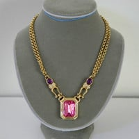 Pink Pendant Gold Plated Necklace