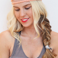 Crochet Headband Braided Stye Elastic Hair Band in Peach Coral