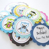 Owl with Mustache and Tie Favor Tags for Boys Party
