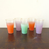 Vintage Blendo Glasses, West Virginia, Ombre Gradient Glassware