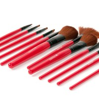 SHANY Professional 13-Piece Cosmetic Brush Set with Pouch, Set of 12 Brushes and 1 Pouch, Red
