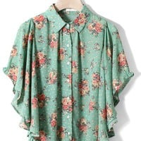 Floral Print Ruffle Cape in Green