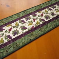 Handmade Table Runner Grapes Quilted Table Runner