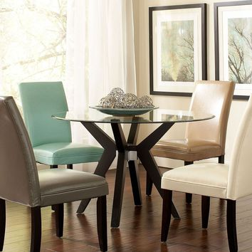 set table and 4 multi colored parsons chairs dining room furniture