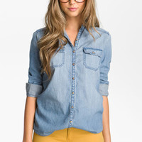 Rubbish® Chambray Boyfriend Shirt (Juniors) | Nordstrom