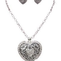 Amazon.com: Designer Pave Crystal Heart Necklace & Earring Set by Jersey Bling: Jewelry