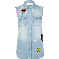 Mid wash sleeveless denim shirt - denim shirts - blouses / shirts - women