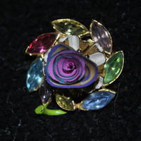 Vintage Brooch-Hat Pin-Scarf Pin-Gem Stones-Victorian Inspired-Hand Turned Up Cycled Pencil Shaving Flower Center