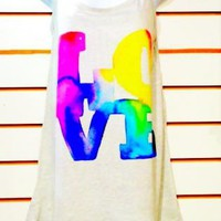 Water Colour LOVE Tank Top Tunic Blouse T shirt Dress