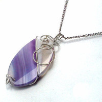 Wire wrapped purple agate pendant necklace by PinkCupcakeJC