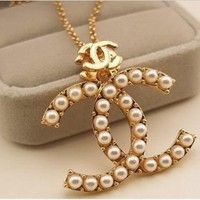 CC Double C Gold Plated Pearl Sweater Chain C Necklace with Gift Box (Free Shipping)