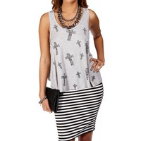 H. Gray Sleeveless Floral Cross Top