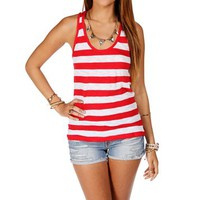 Red/White Stripe Racerback Tank Top