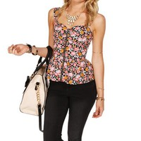 Black Floral Peplum Corset