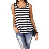 Black/white Horizontal Stripe Top