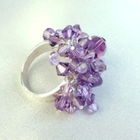 Swarovski Crystal Cha Cha Ring Amethyst Purple Sterling Beaded