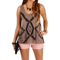 Mocha/Black Tribal Print Tank