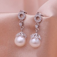 Rhodium Plated Fresh Water Pearl Earrings - Flower Buds
