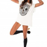 White Oversized Lace Skull Tee with Glitter Embellishment
