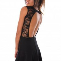 Black Sleeveless Skater Dress with Lace Detail &amp; Open Back