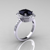 Classic 14K White Gold 2.5 Carat Oval Black Diamond Accent White Diamond Ring R72M-WGDBD