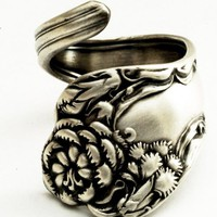 Spoon Ring Vintage Carnation Art Nouveau Sterling Silver 1813 | Spoonier - Jewelry on ArtFire