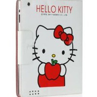Hello Kitty White &amp; Red Apple Faux Leather Folio Magnetic Case/Cover for Ipad 1-2-3-4 by Jersey Bling