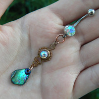 choose 1 abalone belly ring AROURA amethyst  in beach summer moroccan belly dancer indie gypsy hippie morrocan boho and hipster style