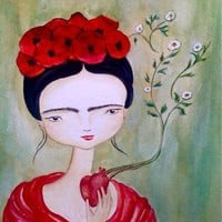 Frida Kahlo art print Frida with poppies and by darklingwoods