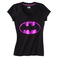 Batman Juniors V Neck Sleep Tee - Black
