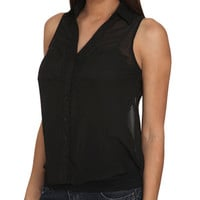 Solid Sleeveless Chiffon Shirt | Shop Saturday Steals - $10 Woven Tops at Wet Seal