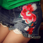 Handmade Embroidery Destroyed Lace Denim Shorts