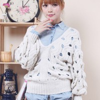 New Womens Hollow-out V-neck Solid Sweater Tops Jumper Casual Outwear Lovely Hot