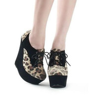 Womens Knight Platform Wedges High Heels Leopard Lace-up Ankle Boots Shoes 1mX