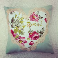 Sage Green And Pink Floral Cushion With Vintage Lace Trim.