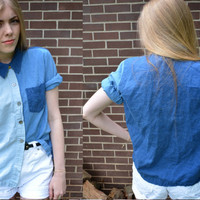 Vintage Multi Jean Button Up Blouse
