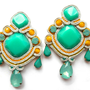 MOJITO soutache earrings in light grey, mint and yellow