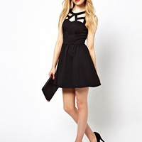 River Island Cut Out Detail Skater Dress at asos.com